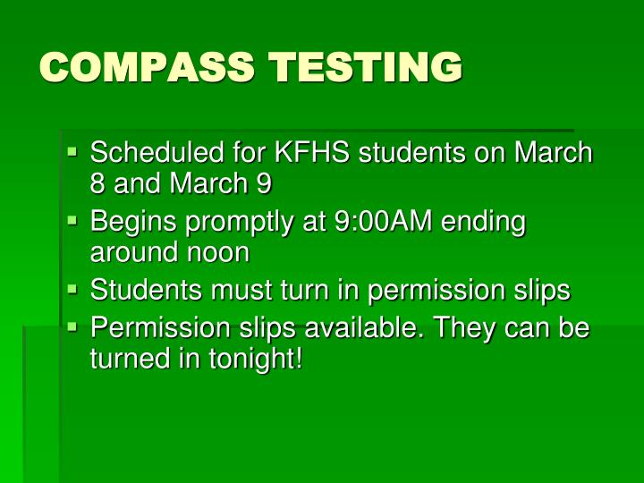 COMPASS TESTING