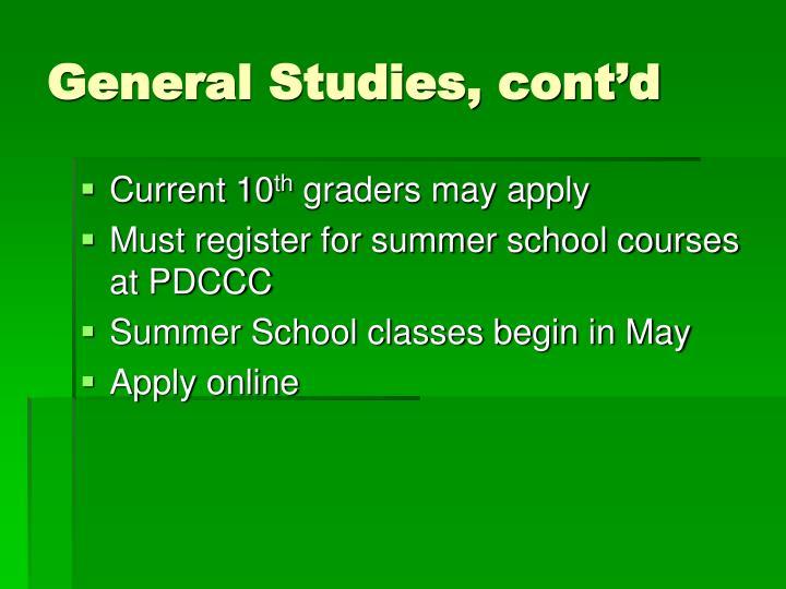 General Studies, cont'd