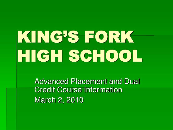King s fork high school