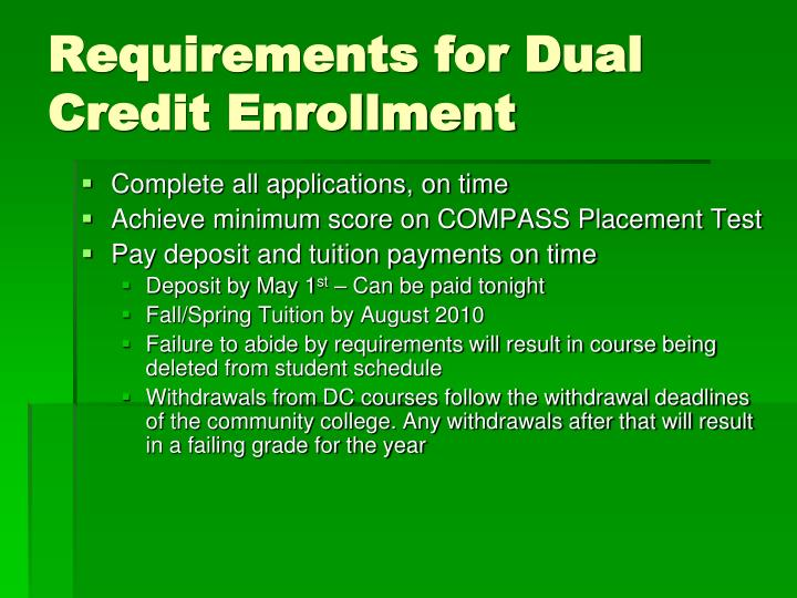 Requirements for Dual Credit Enrollment
