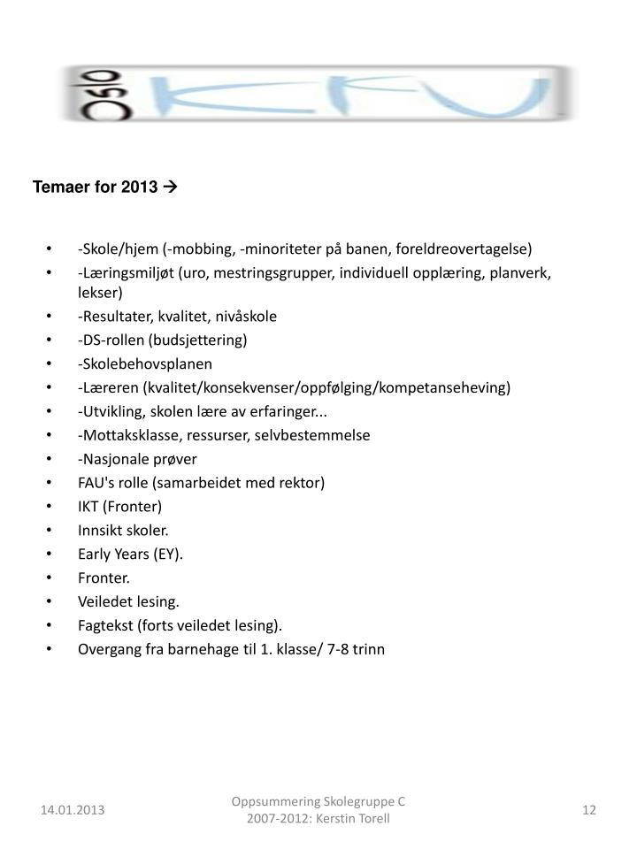Temaer for 2013