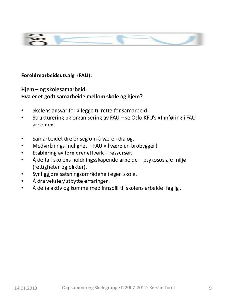 Foreldrearbeidsutvalg  (FAU):