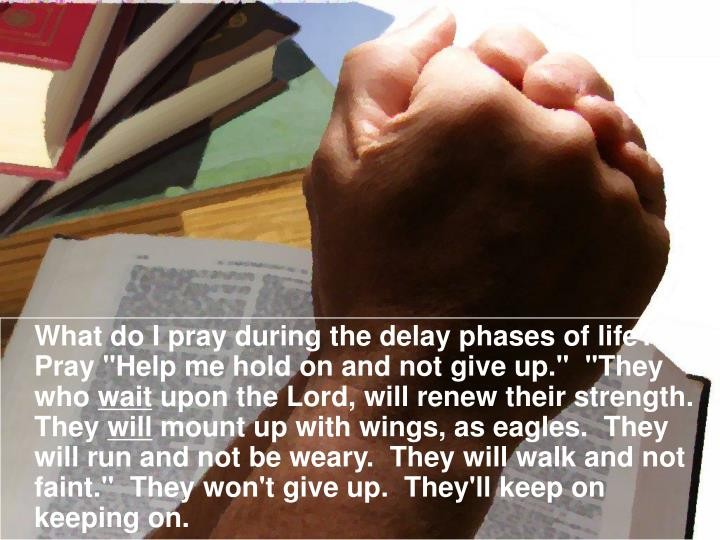 "What do I pray during the delay phases of life?  Pray ""Help me hold on and not give up.""  ""They who"