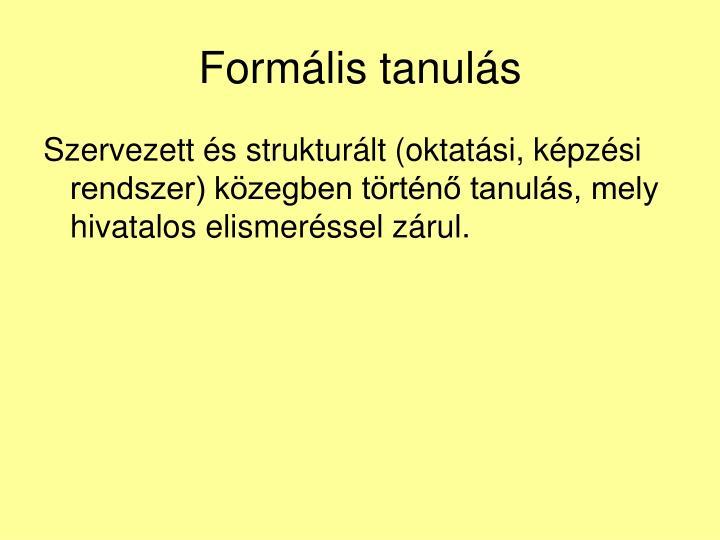 Formális tanulás