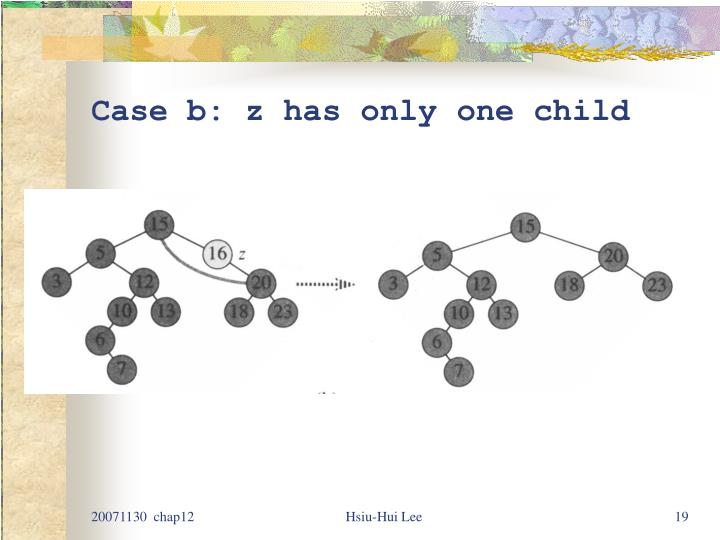 Case b: z has only one child