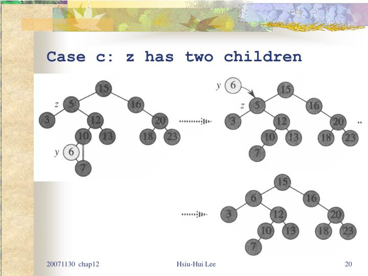 Case c: z has two children