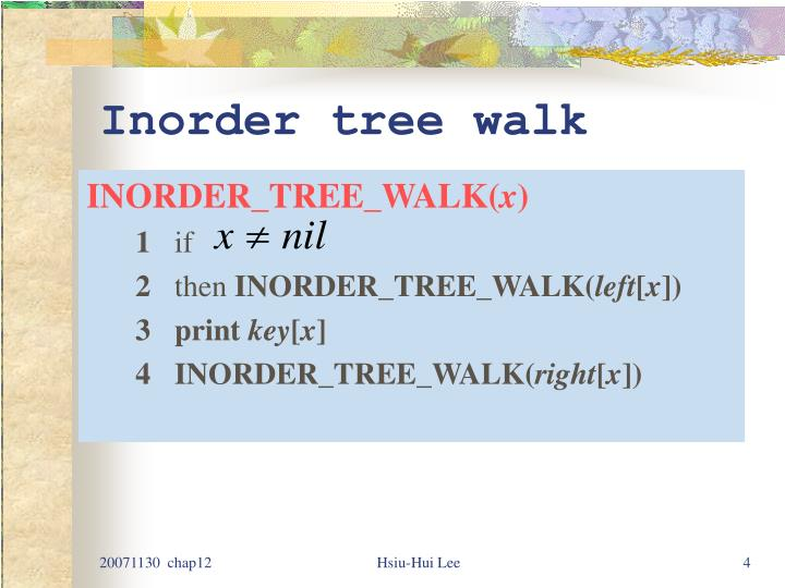 Inorder tree walk