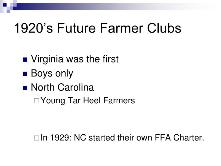 1920's Future Farmer Clubs