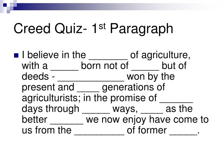 Creed Quiz- 1