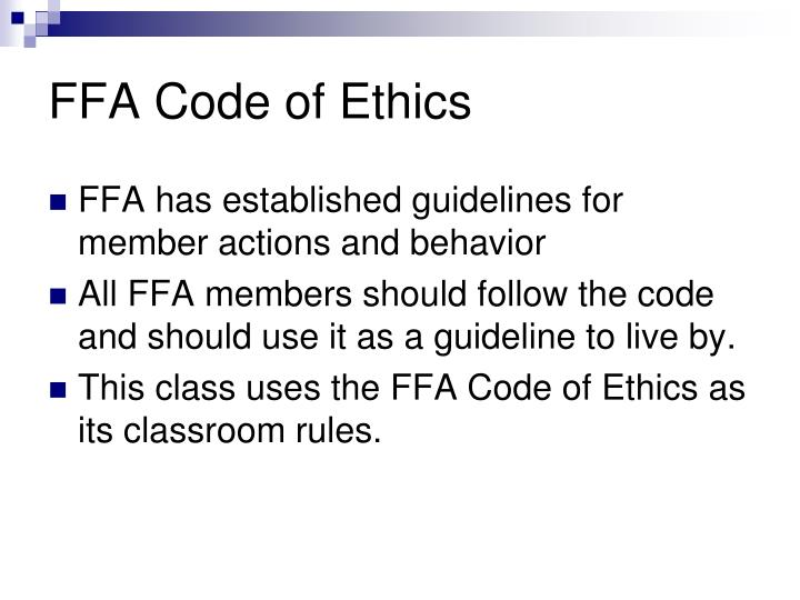 FFA Code of Ethics