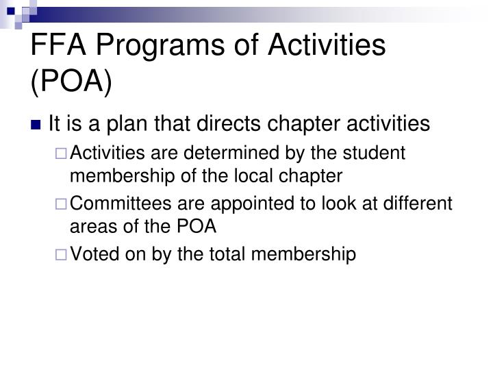 FFA Programs of Activities (POA)