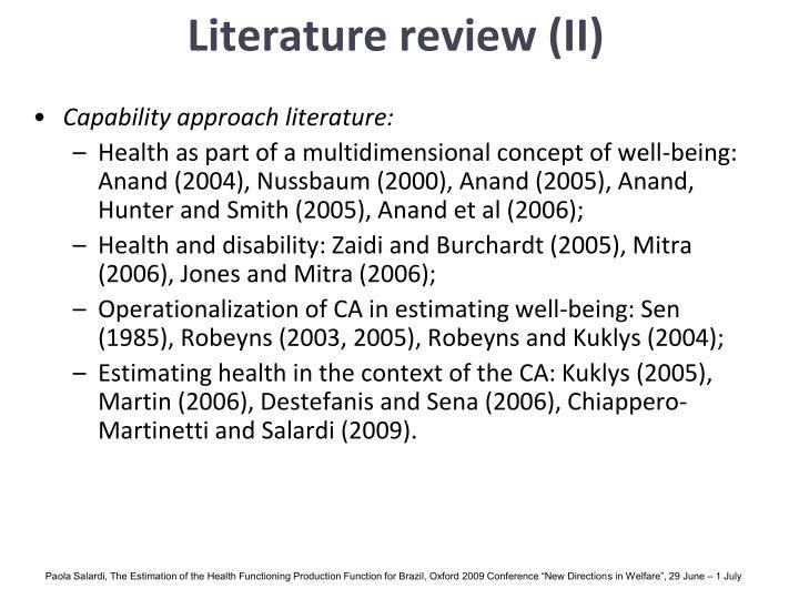 Literature review (II)
