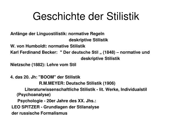 Geschichte der Stilistik
