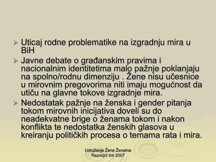 Uticaj rodne problematike na izgradnju mira u  BiH
