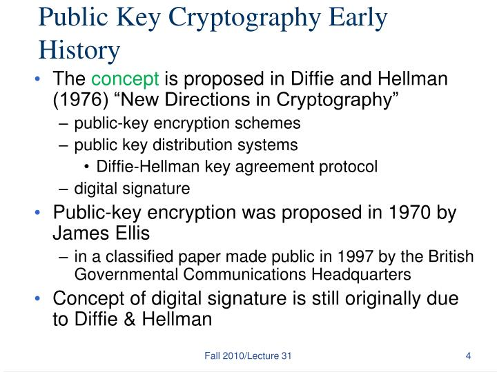 Public Key Cryptography Early History