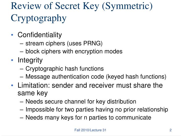 Review of Secret Key (Symmetric) Cryptography