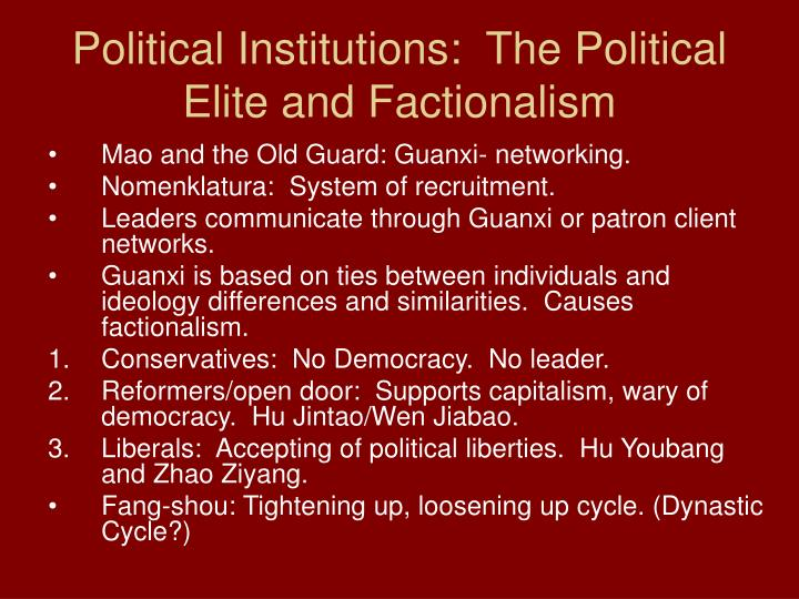 Political Institutions:  The Political Elite and Factionalism