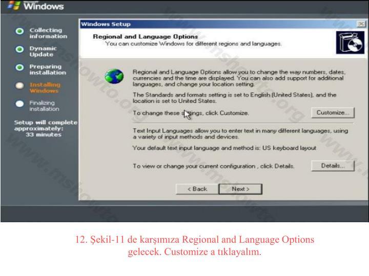 12. Şekil-11 de karşımıza Regional and Language Options gelecek. Customize a tıklayalım.