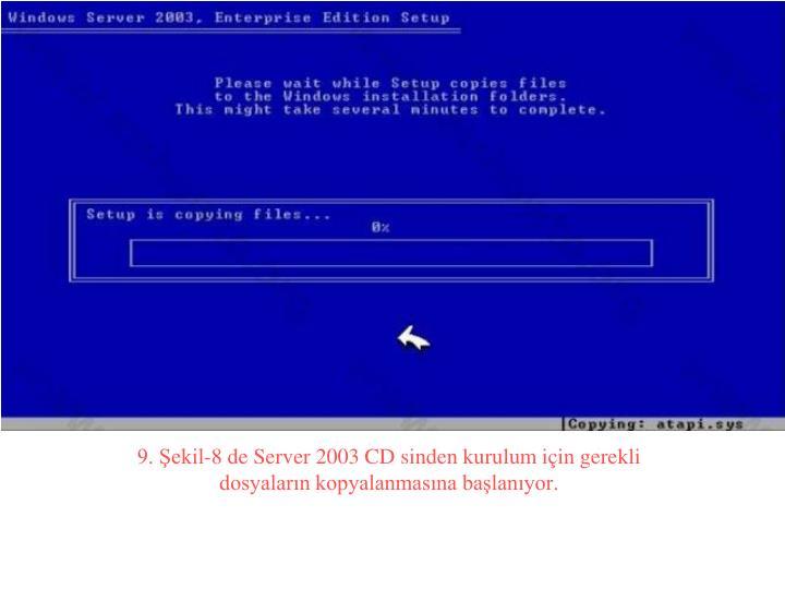 9. Şekil-8 de Server 2003 CD sinden kurulum için gerekli dosyaların kopyalanmasına başlanıyor.
