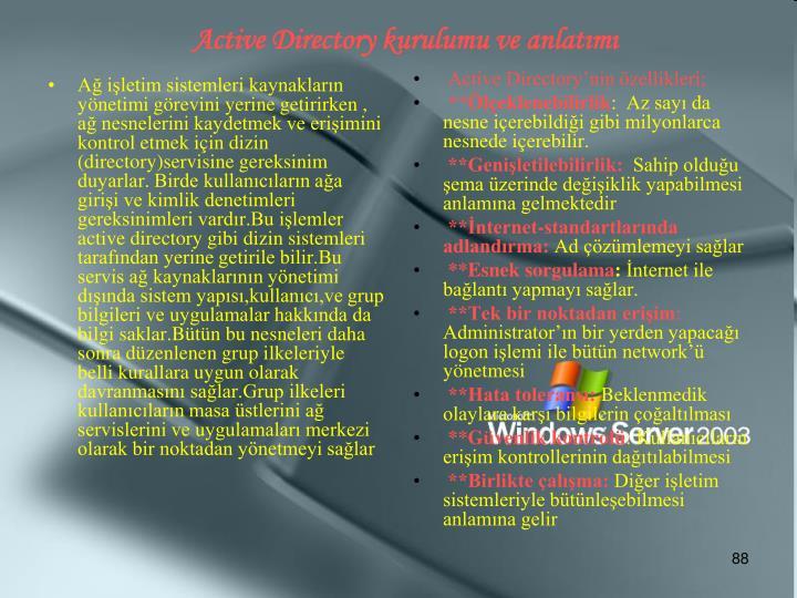 Ağ işletim sistemleri kaynakların yönetimi görevini yerine getirirken , ağ nesnelerini kaydetmek ve erişimini kontrol etmek için dizin (directory)servisine gereksinim duyarlar. Birde kullanıcıların ağa girişi ve kimlik denetimleri gereksinimleri vardır.Bu işlemler active directory gibi dizin sistemleri tarafından yerine getirile bilir.Bu servis ağ kaynaklarının yönetimi dışında sistem yapısı,kullanıcı,ve grup bilgileri ve uygulamalar hakkında da bilgi saklar.Bütün bu nesneleri daha sonra düzenlenen grup ilkeleriyle belli kurallara uygun olarak davranmasını sağlar.Grup ilkeleri kullanıcıların masa üstlerini ağ servislerini ve uygulamaları merkezi olarak bir noktadan yönetmeyi sağlar
