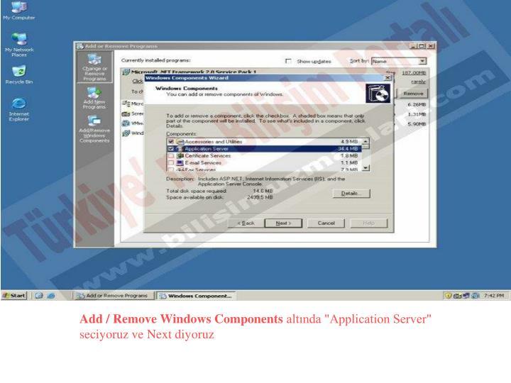 Add / Remove Windows Components