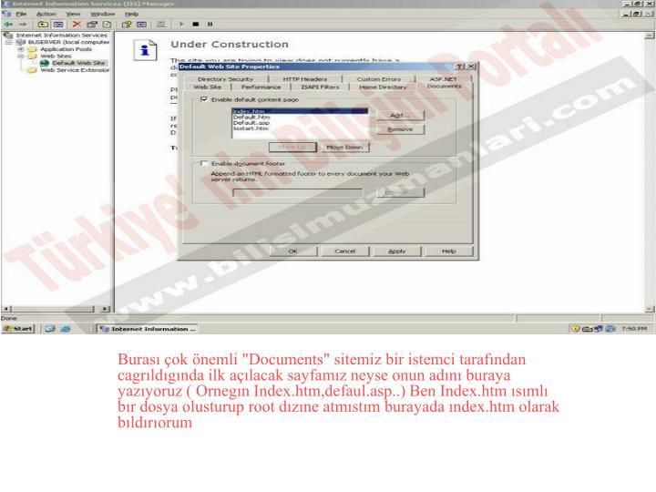 """Burası çok önemli """"Documents"""" sitemiz bir istemci tarafından cagrıldıgında ilk açılacak sayfamız neyse onun adını buraya yazıyoruz ( Ornegın Index.htm,defaul.asp..) Ben Index.htm ısımlı bır dosya olusturup root dızıne atmıstım burayada ındex.htm olarak bıldırıorum"""
