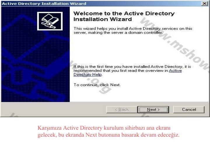 Karşımıza Active Directory kurulum sihirbazı ana ekranı gelecek, bu ekranda Next butonuna basarak devam edeceğiz.
