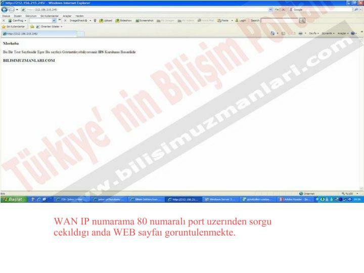 WAN IP numarama 80 numaralı port uzerınden sorgu cekıldıgı anda WEB sayfaı goruntulenmekte.