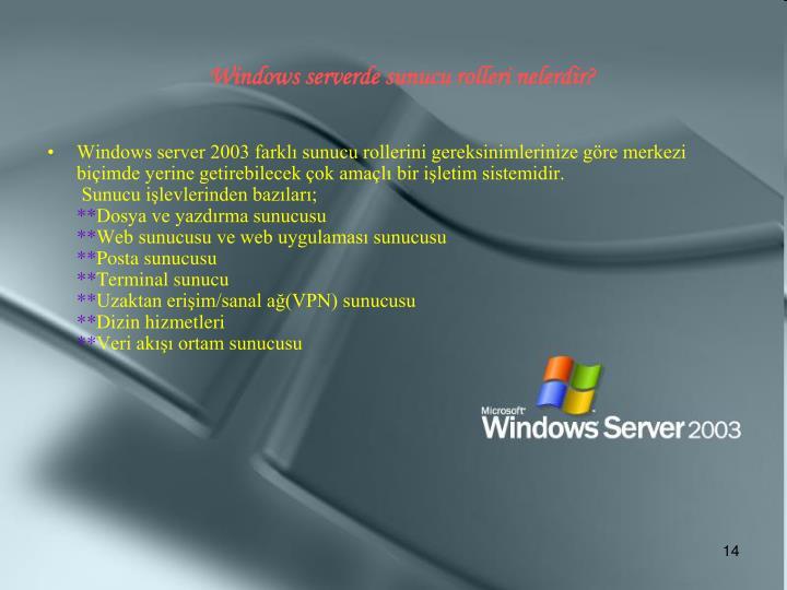 Windows serverde sunucu rolleri nelerdir?