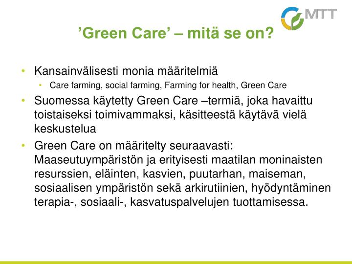Green care mit se on