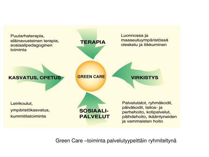 Green Care –toiminta palvelutyypeittäin ryhmiteltynä