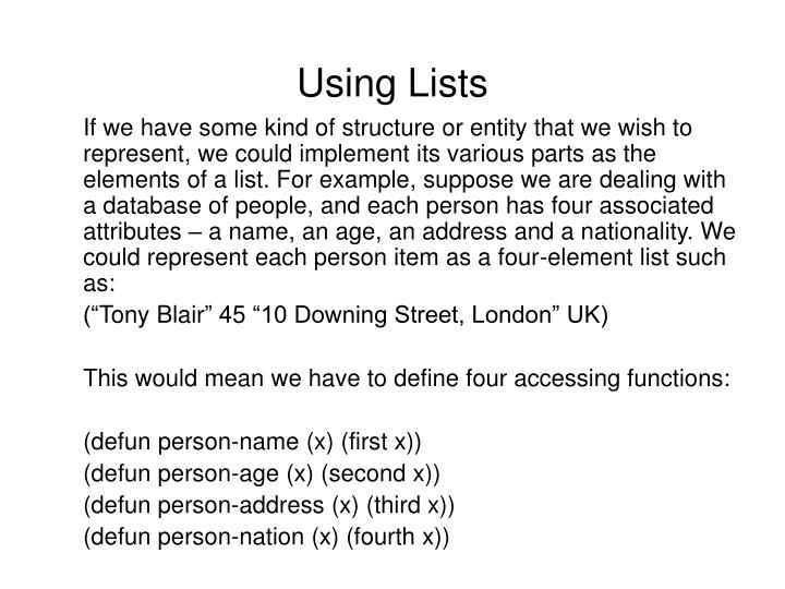 Using Lists