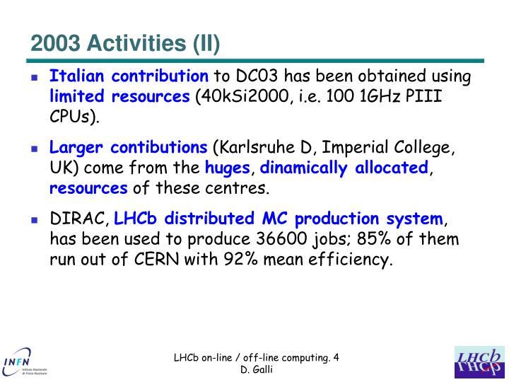 2003 Activities (II)