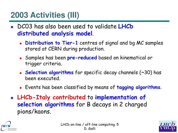 2003 Activities (III)