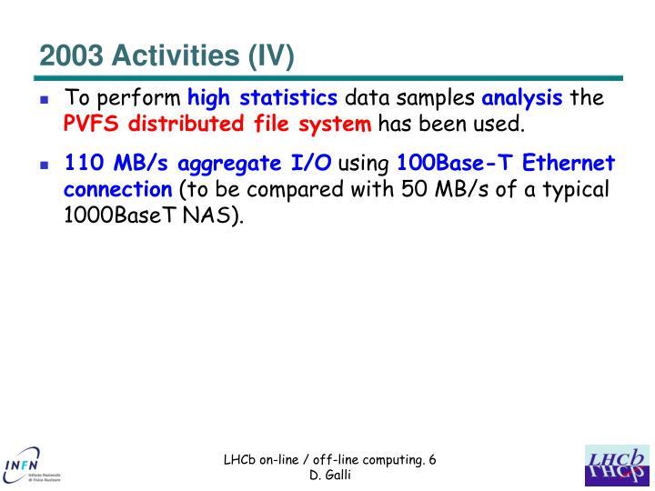 2003 Activities (IV)