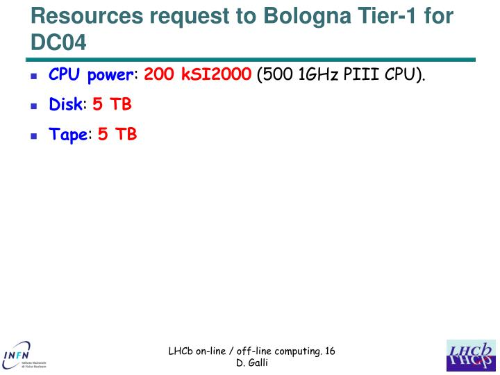 Resources request to Bologna Tier-1 for DC04