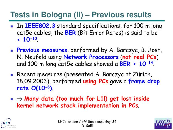 Tests in Bologna (II) – Previous results