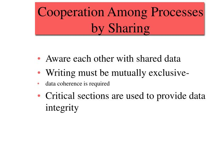 Cooperation Among Processes by Sharing