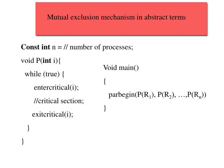 Mutual exclusion mechanism in abstract terms
