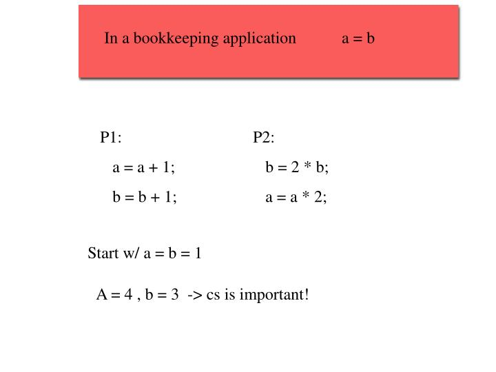 In a bookkeeping application           a = b