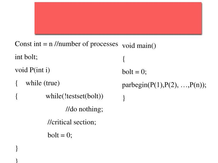 Const int = n //number of processes