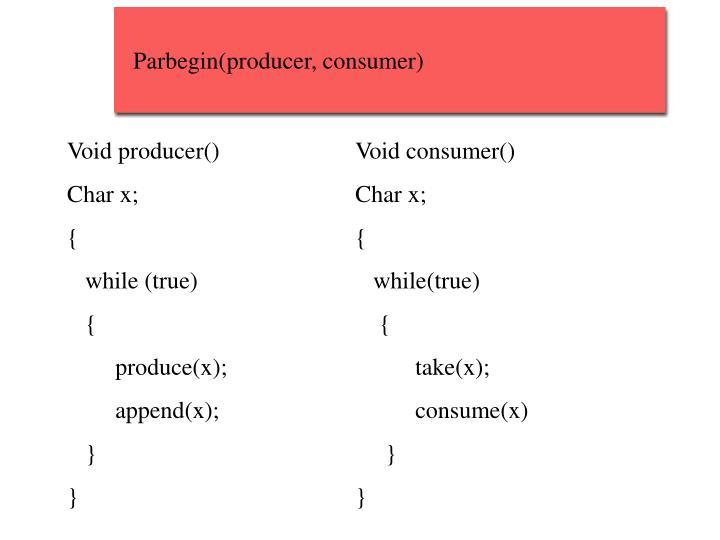 Parbegin(producer, consumer)