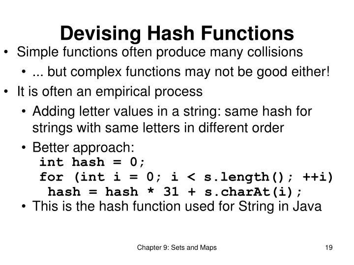 Devising Hash Functions