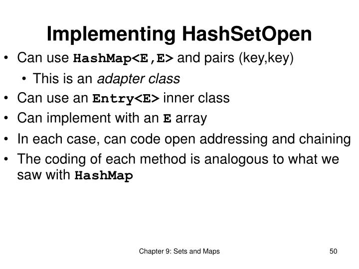 Implementing HashSetOpen