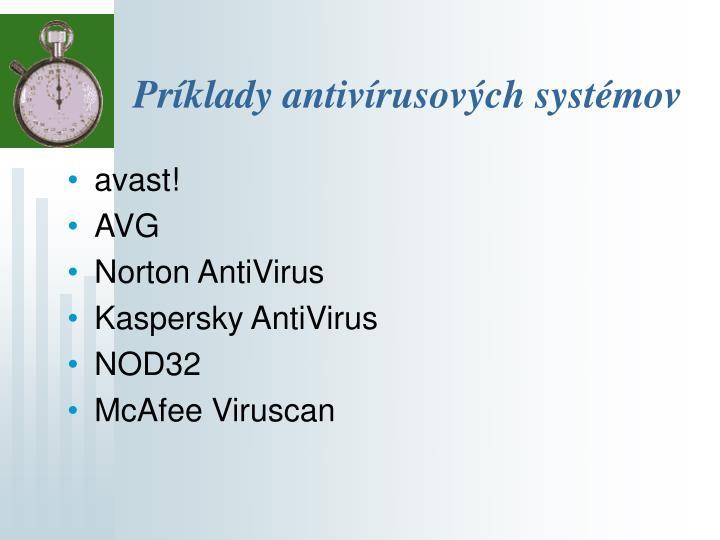 Príklady antivírusových systémov
