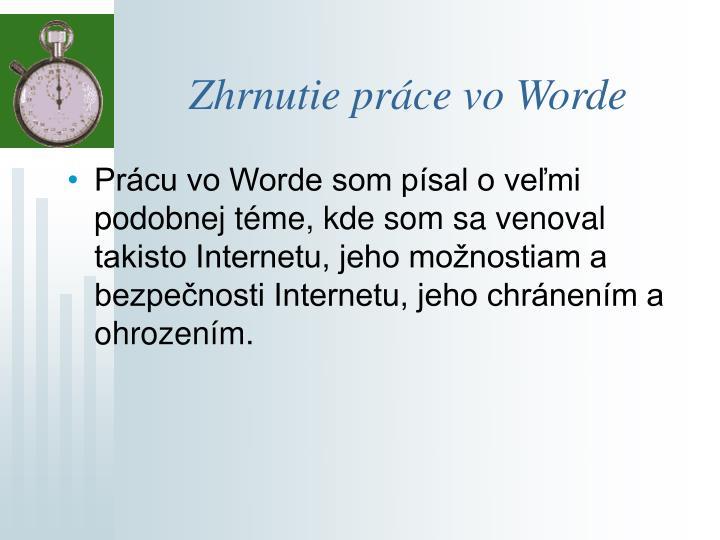 Zhrnutie práce vo Worde