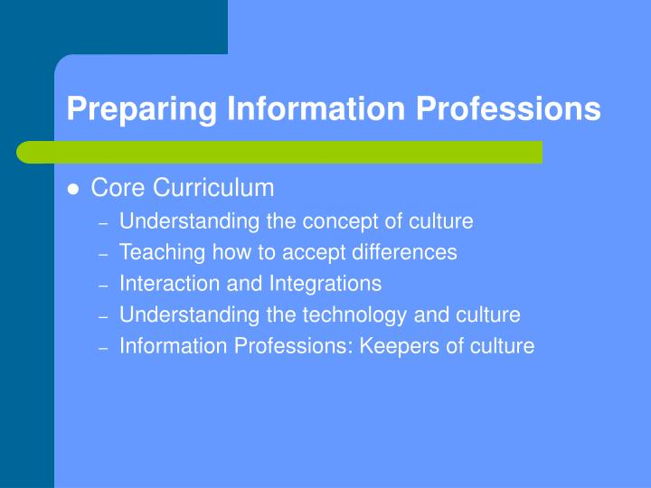Preparing Information Professions