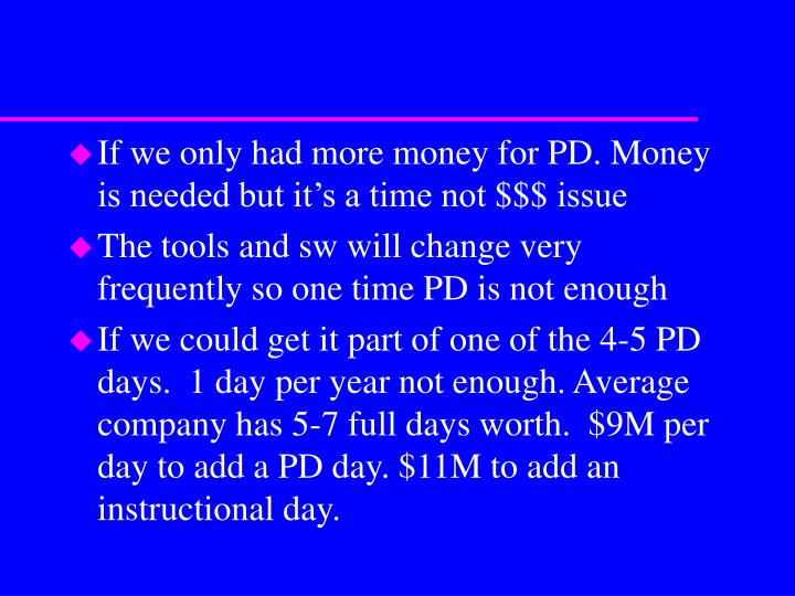 If we only had more money for PD. Money is needed but it's a time not $$$ issue