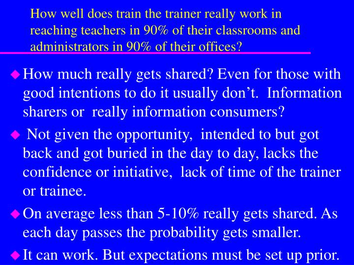 How well does train the trainer really work in reaching teachers in 90% of their classrooms and administrators in 90% of their offices?
