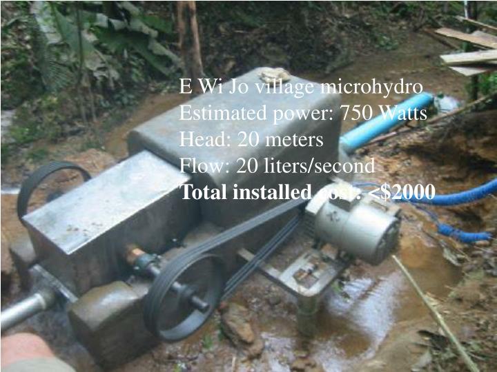 E Wi Jo village microhydro